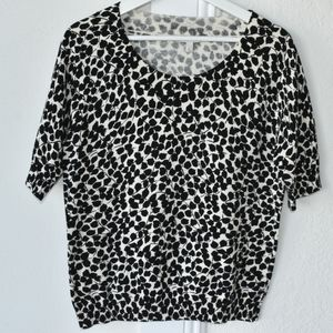 talbots light weight knit top black and off white